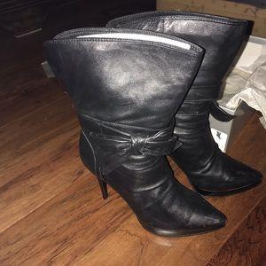 ALDO Nadda Black Leather Bow Booties Euro Size 39